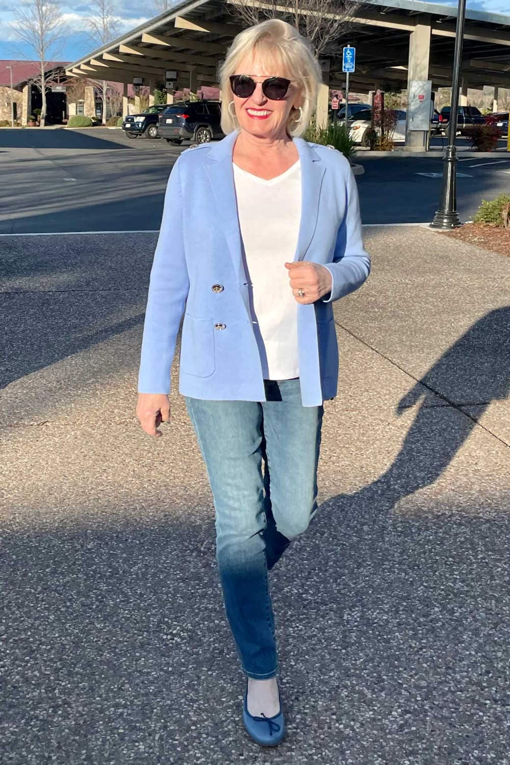 jennifer of well styled life showing why a double breasted jacket looks wrrong on her shape