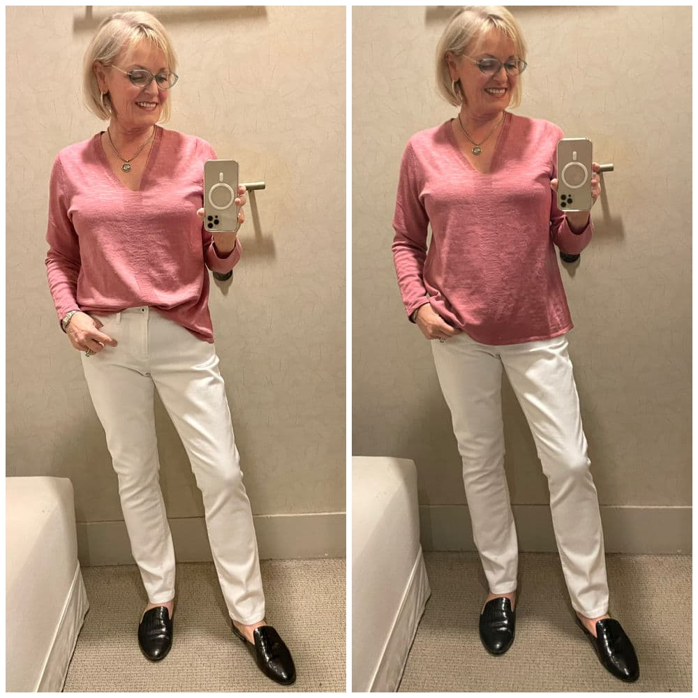 TWO VIEWS OF PINK SWEATER AND WHITE JEANS ON WOMAN IN DRESSING ROOM