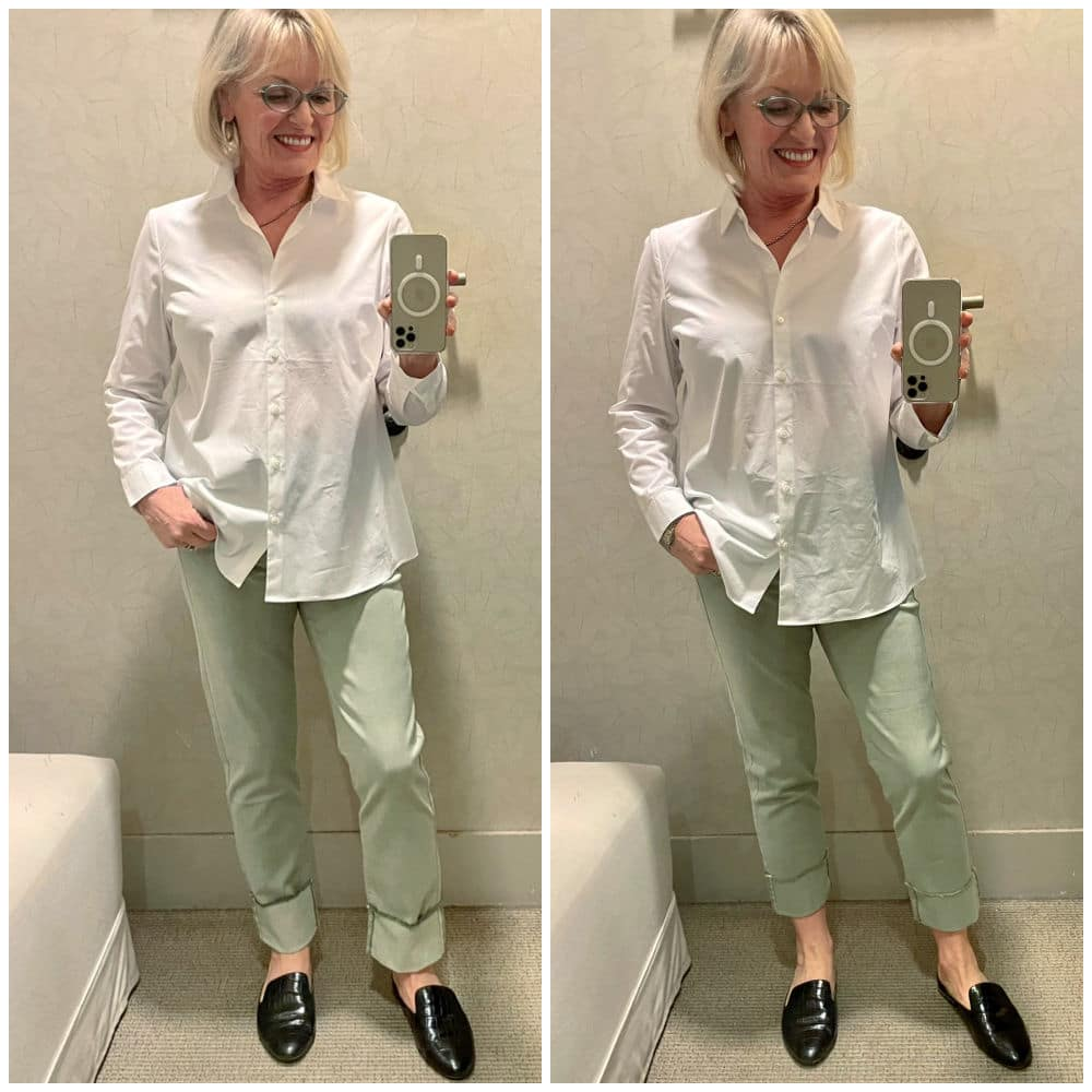 SIDE BY SIDE VIEWS OF CROPPED AND UNCROPPED JEANS ON A WOMAN IN DRESSING ROOM