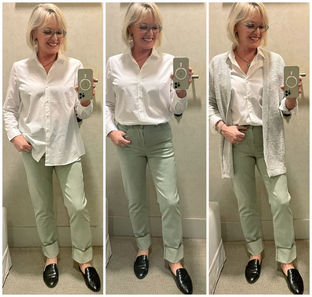 woman wearing green jeans and white shirt three different ways