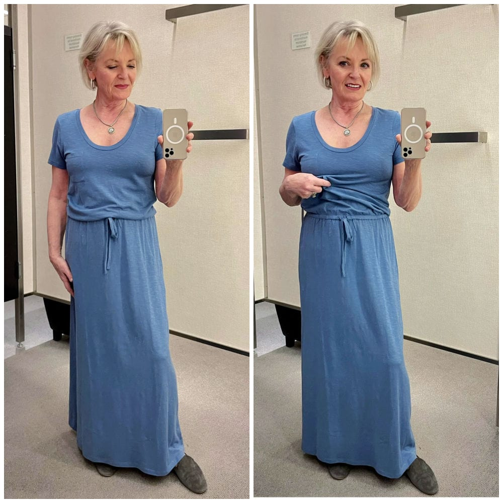 blonde woman showing two versions of blue dress