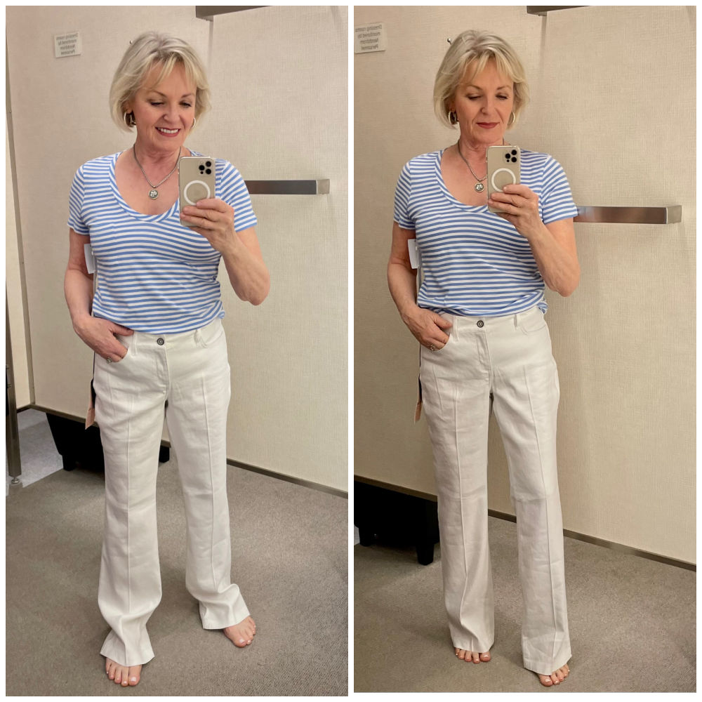 woman modeling blue and white stripe tee and white linen jeans