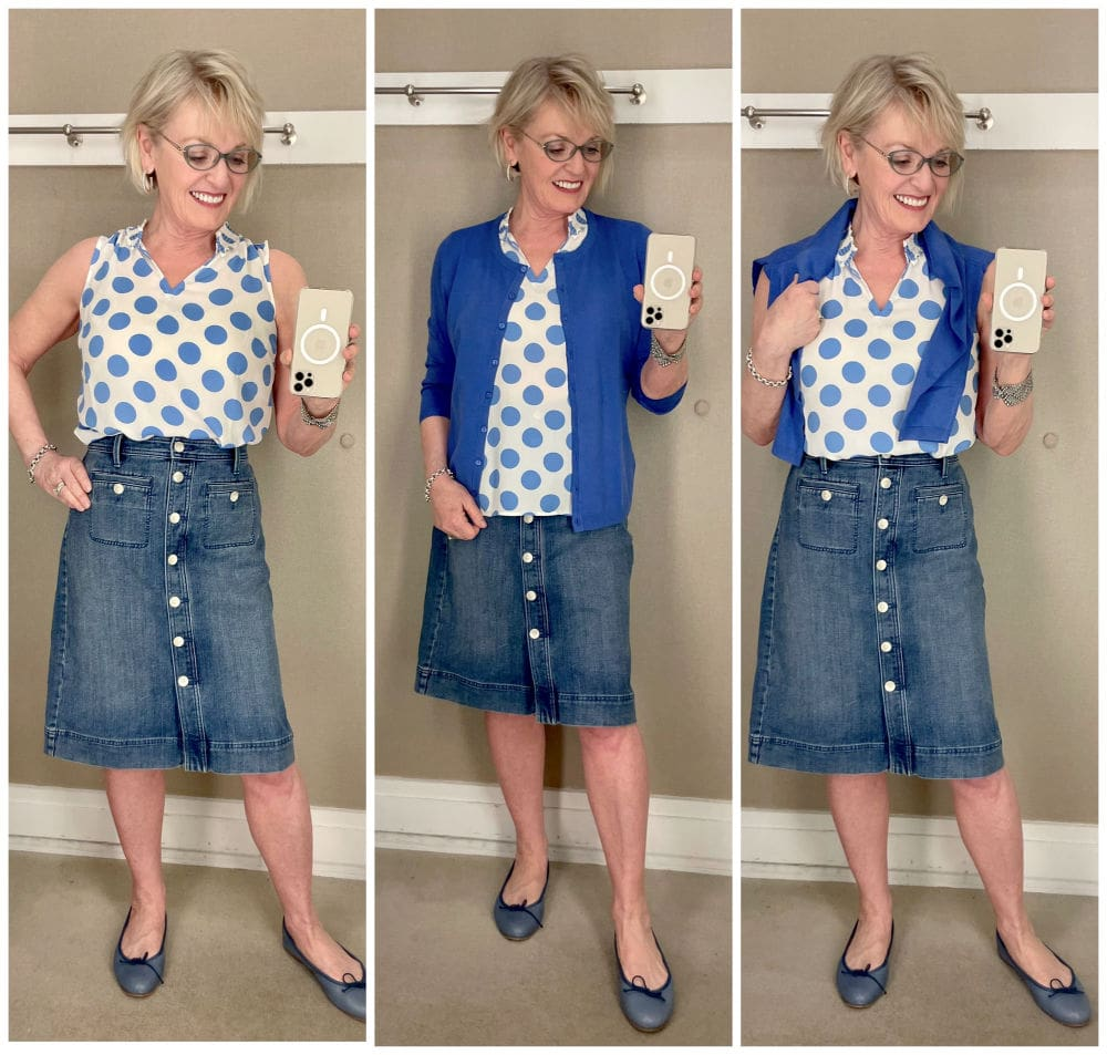 jennifer connolly of a well styled life styling spring polka dot top and denim skirt three ways