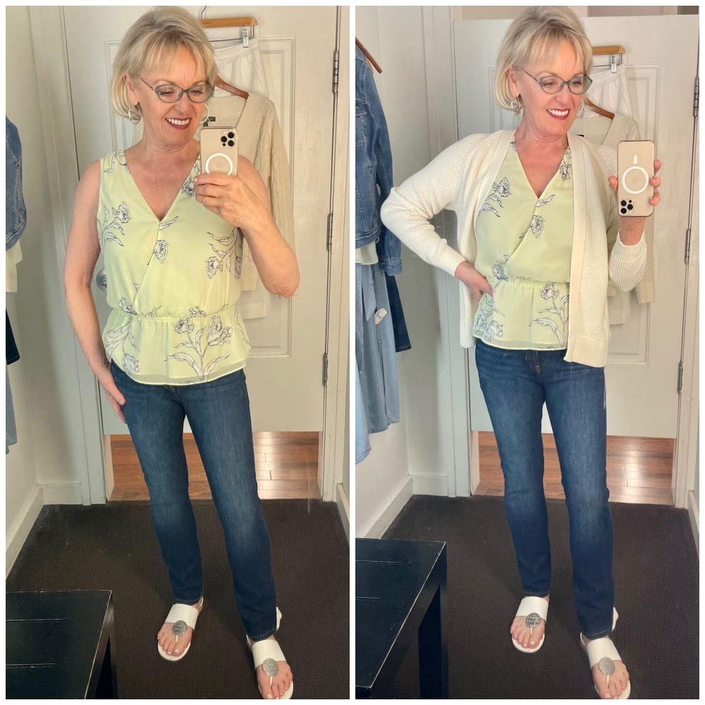 two views of green top and jeans outfit