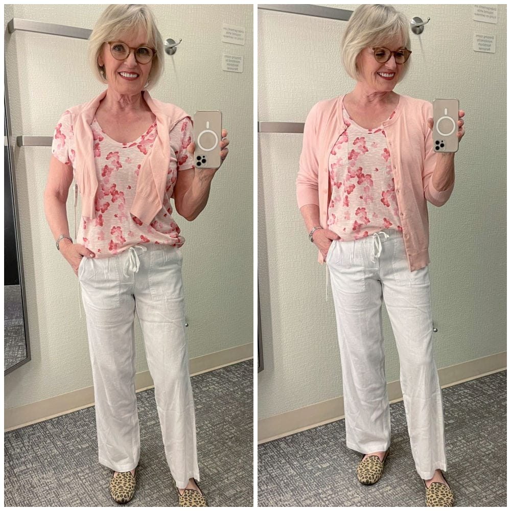 WOMAN WEARING TWO VERSIONS OF THE SAME OUTFIT WITH PEACH CARDIGAN AND WHITE LINEN PANTS