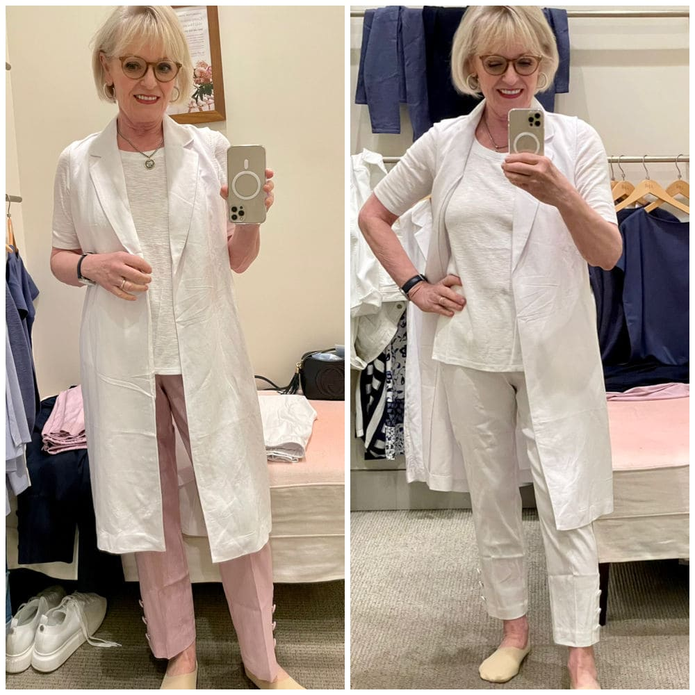 woman in dressing room showing two outfits with same white vest
