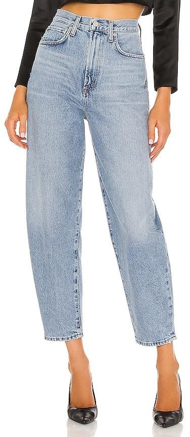 balloon jeans on woman