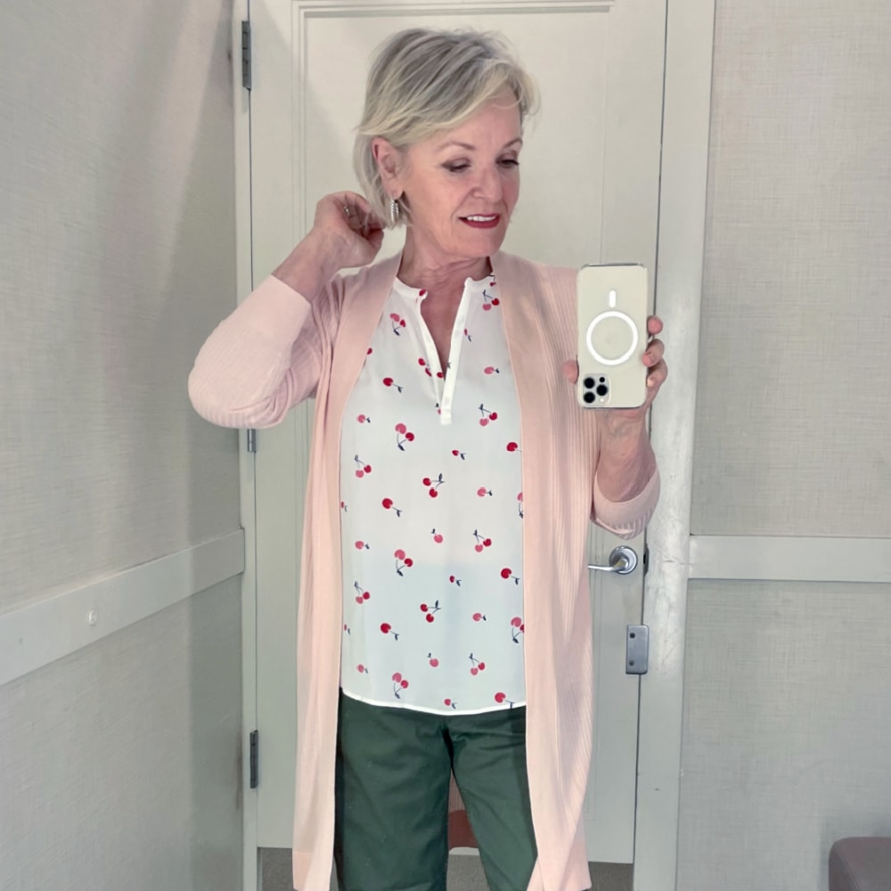 jennifer of a well styled life trying on spring outfits from Loft