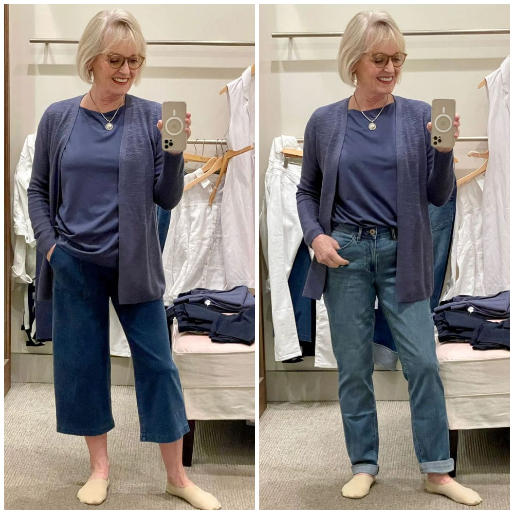 woman showing two looks from the j. jill spring capsule collection