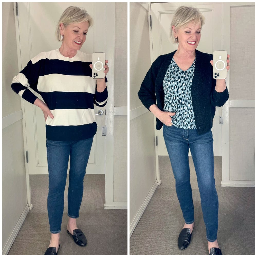 fashion blogger trying on spring fashion at loft including two versions of skinny jeans in dressing room mirror