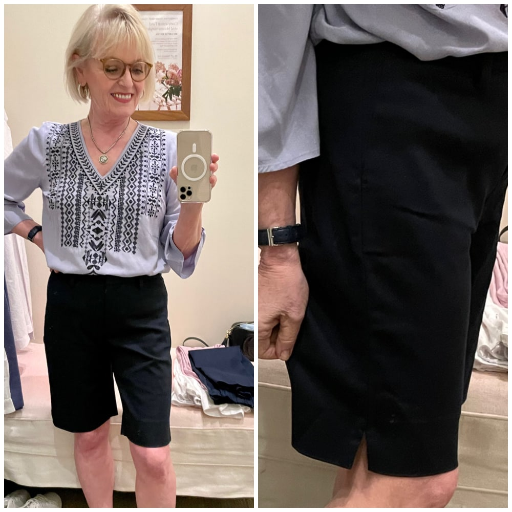 WOMAN WEARING J JILL NAVY SHORTS WITH EMBROIDERED TOP