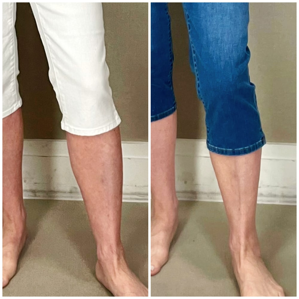 close up showing the most flattering length for pedal pushers