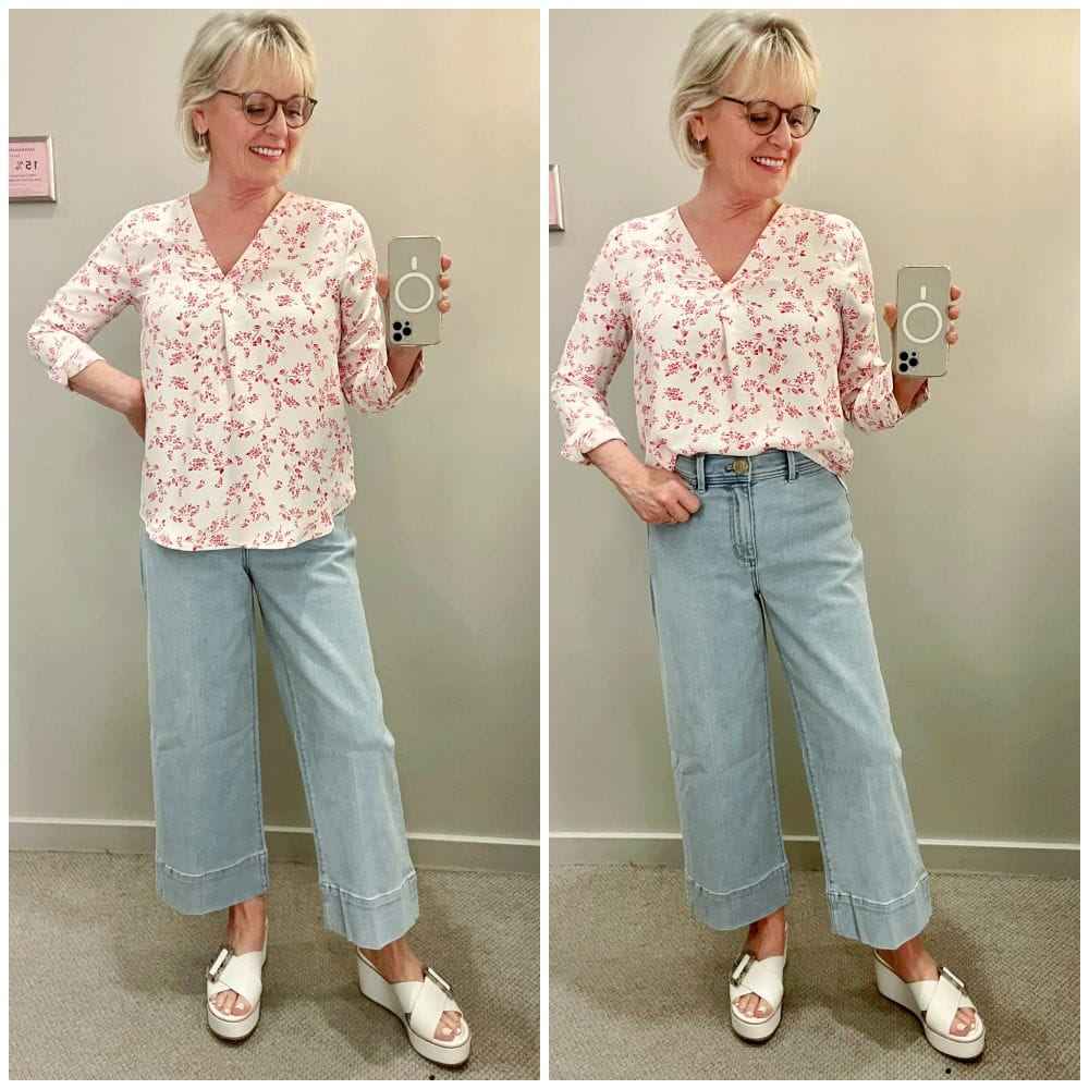 woman showing difference between proportion between tucked and untucked shirt
