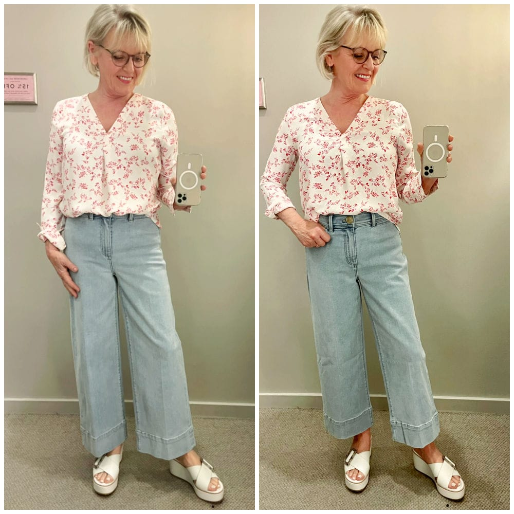 side by side picture showing cropped and uncropped wide leg jean shapes from spring 2021 collection at ann taylor