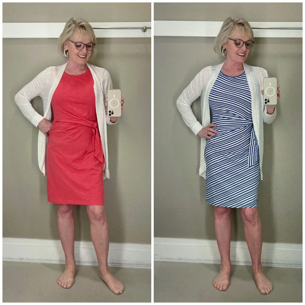 side by side images of woman in dressing room modeling dresses