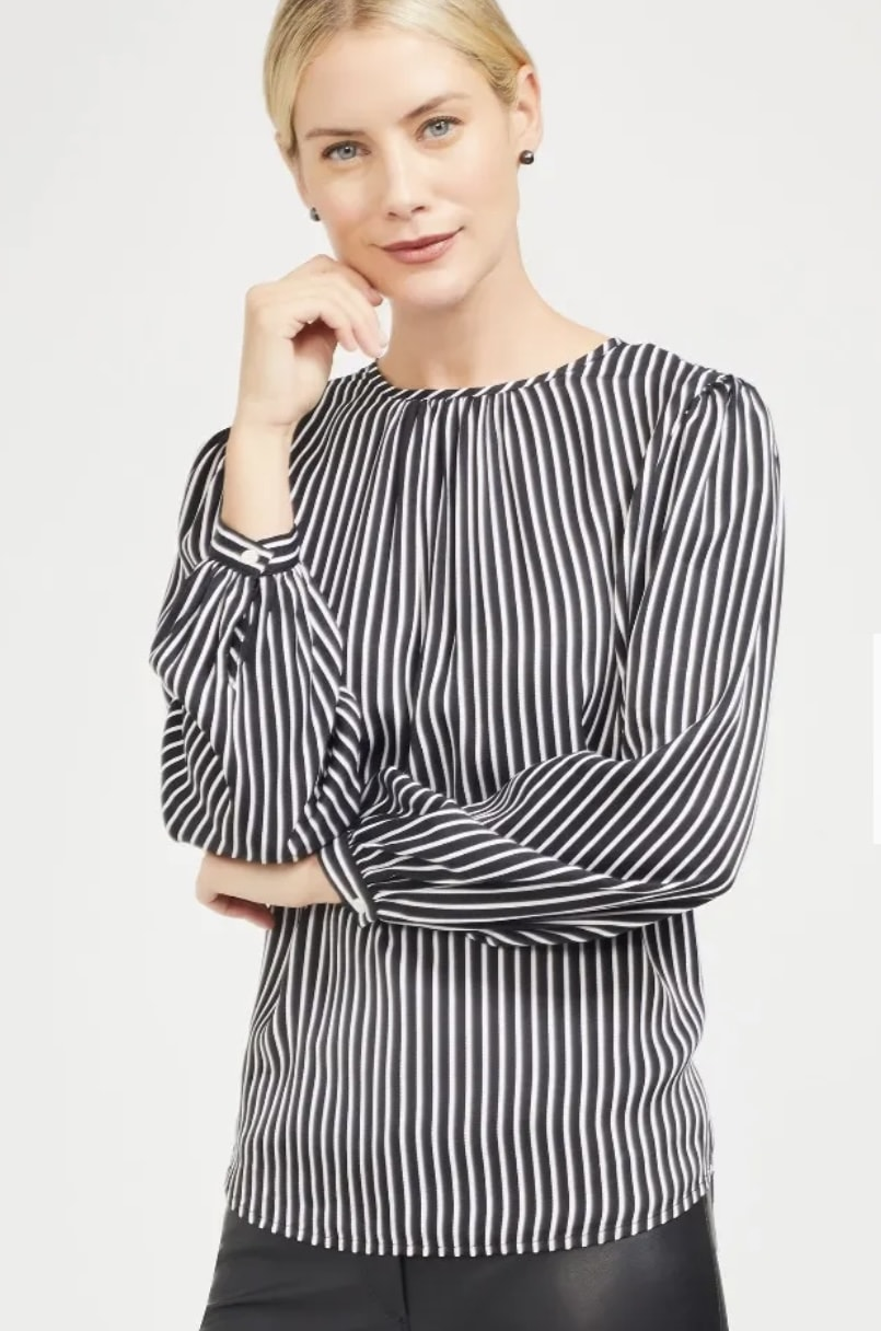 striped blouse with statement sleeves