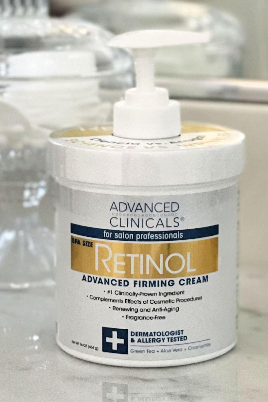 jar of retinol cream for upper arms