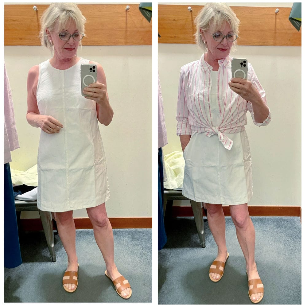 woman showing two versions of white denim dress