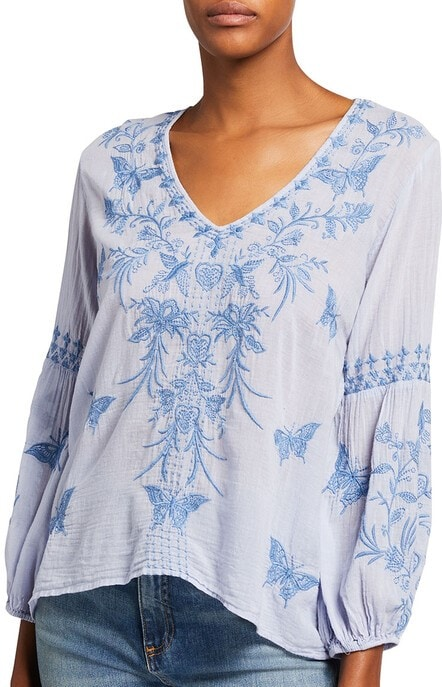 blue and white puff sleeve blouse