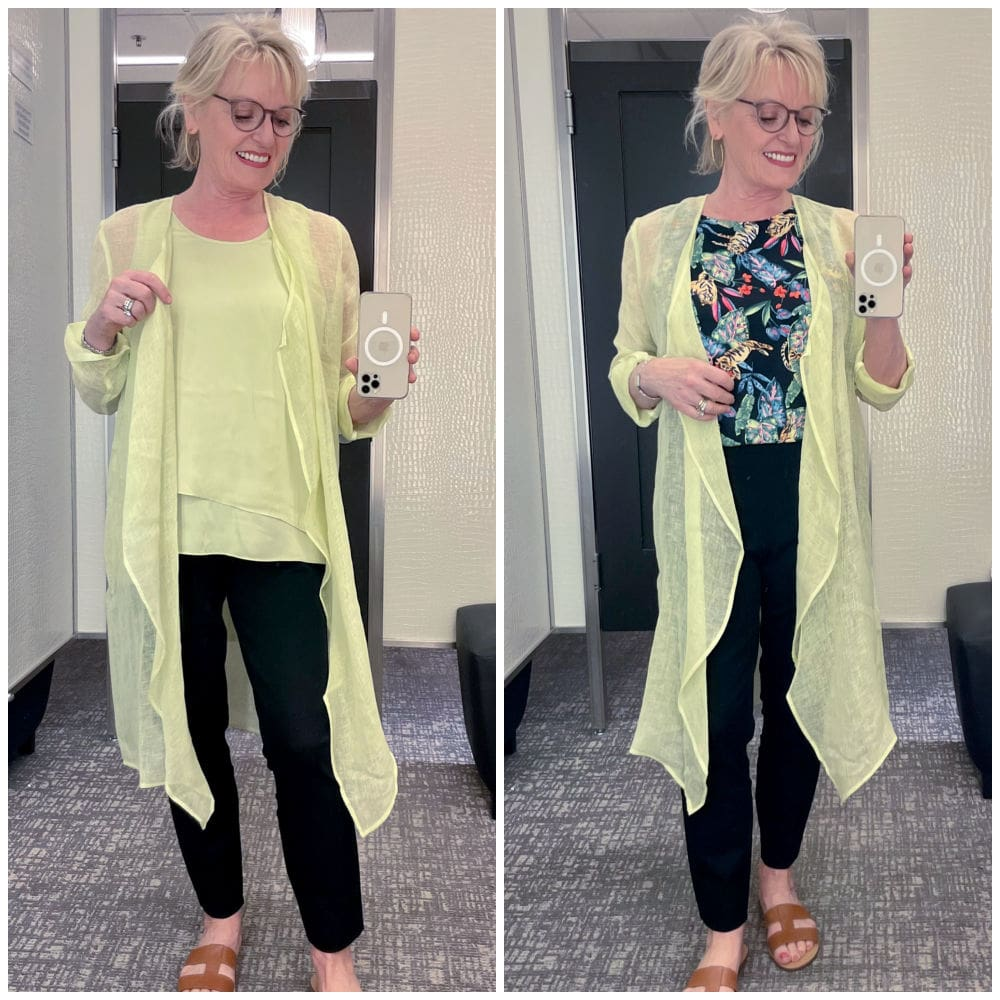 blonde woman wearing line green linen duster and black pants