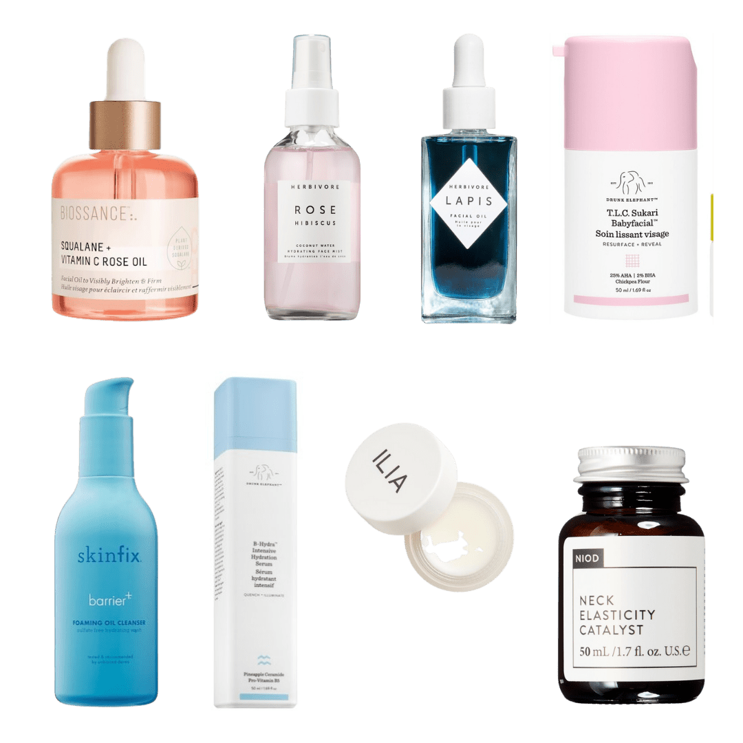 collage of products for mature skincare routine