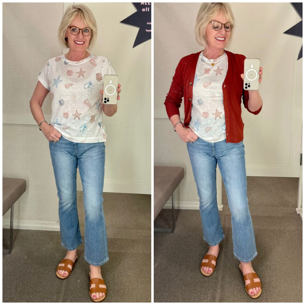 over 50 blogger showing cardigan, tee and jeans in try-on session at loft