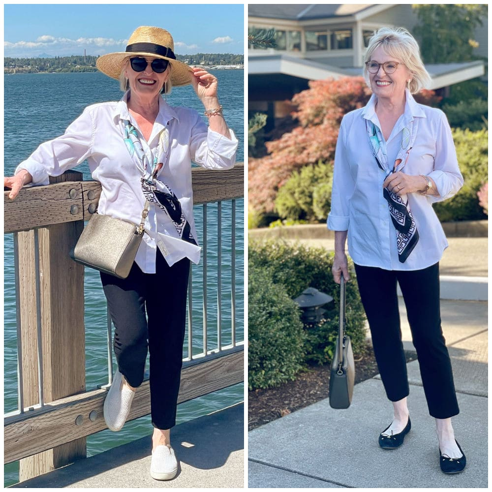 woman wearing white shirt and navy pants on dock and in front of hotel