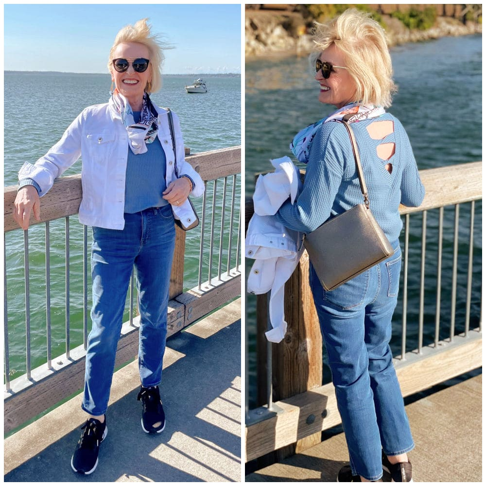 two images of woman front and back in jeans standing on dock