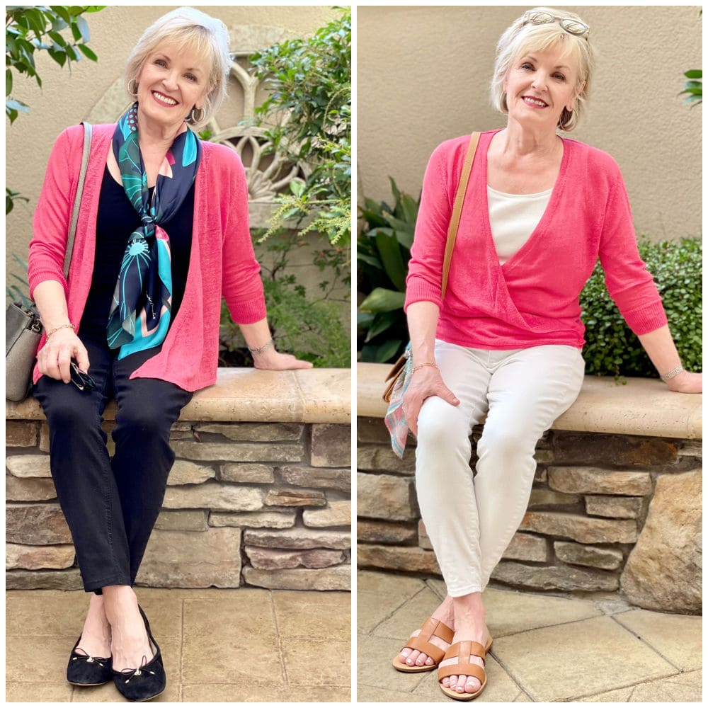 showing side by side image ot a pink sweater with white jeans and black jeans