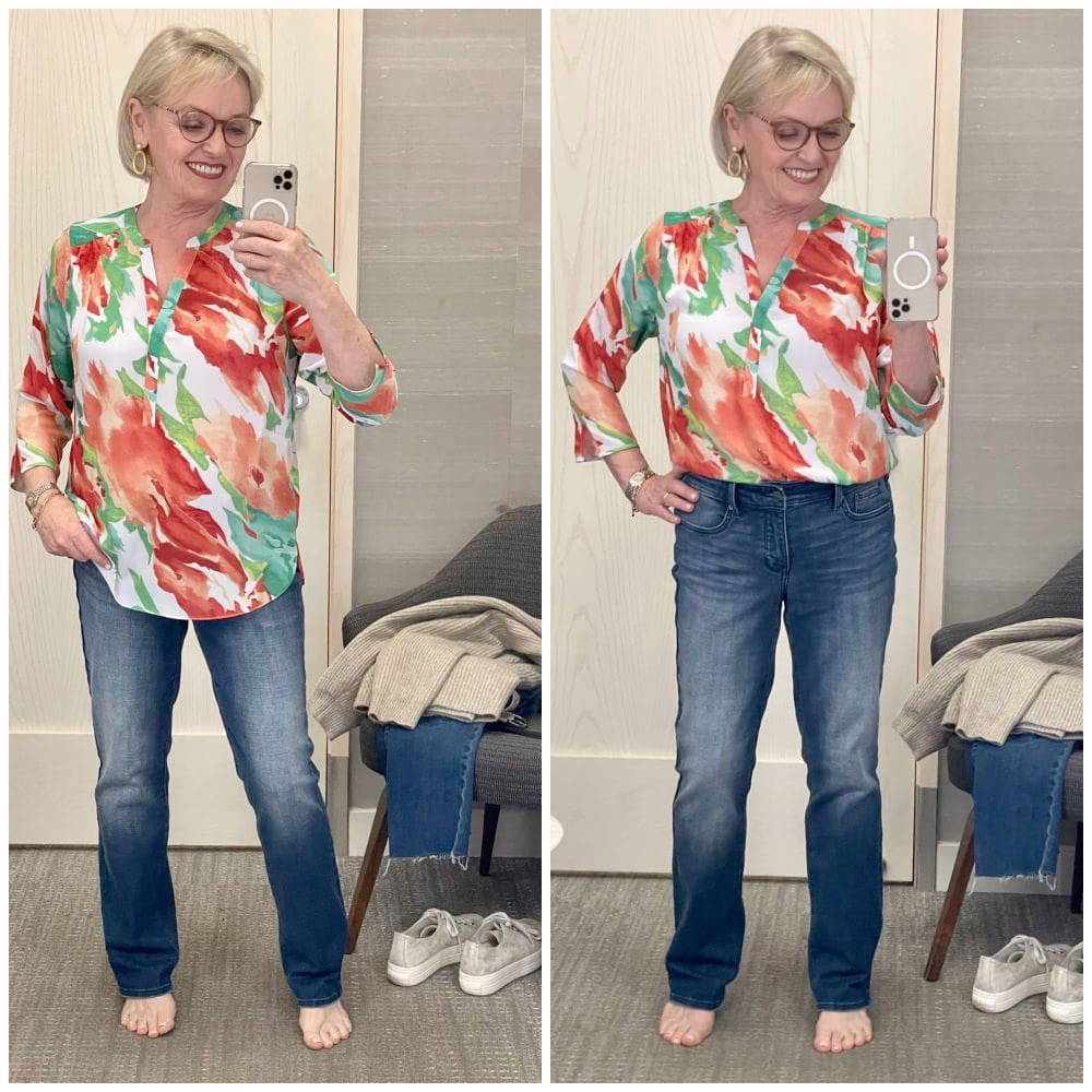 woman showing soft floral blouse tucked and untucked with jeans