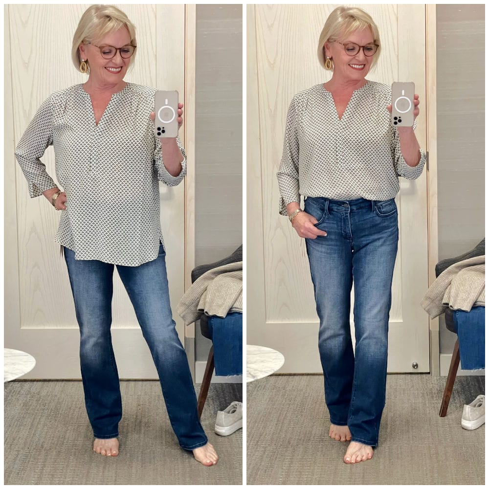 woman demonstrating blouse tucked and untucked