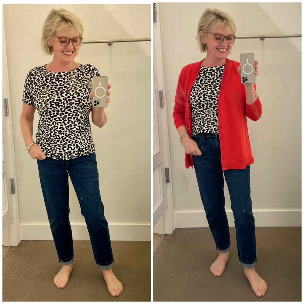 woman doing talbots try on. session wearing leopard sweater and red cardigan over dark denim