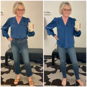 woman showing two ways to way blue blouse and leggings