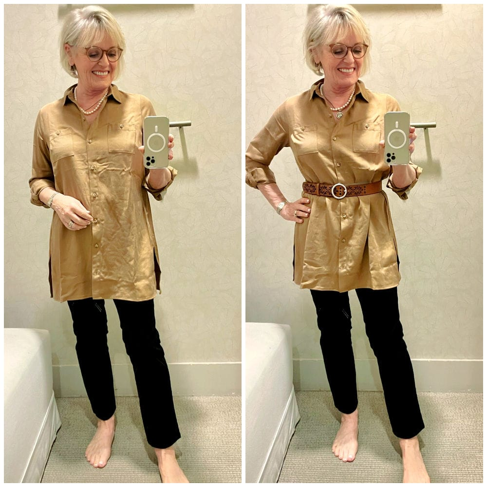 long tunic top with slim pants belted and unbelted