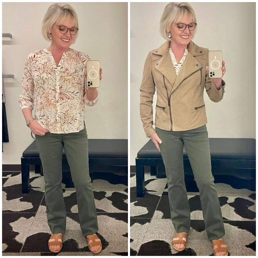 over 50 blogger styling casual fall oufit of pretty blouse, jacket and jeans
