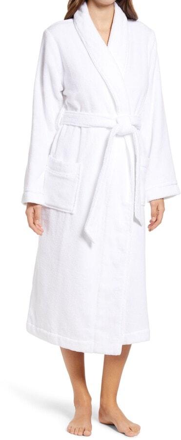 white terry woman's robe