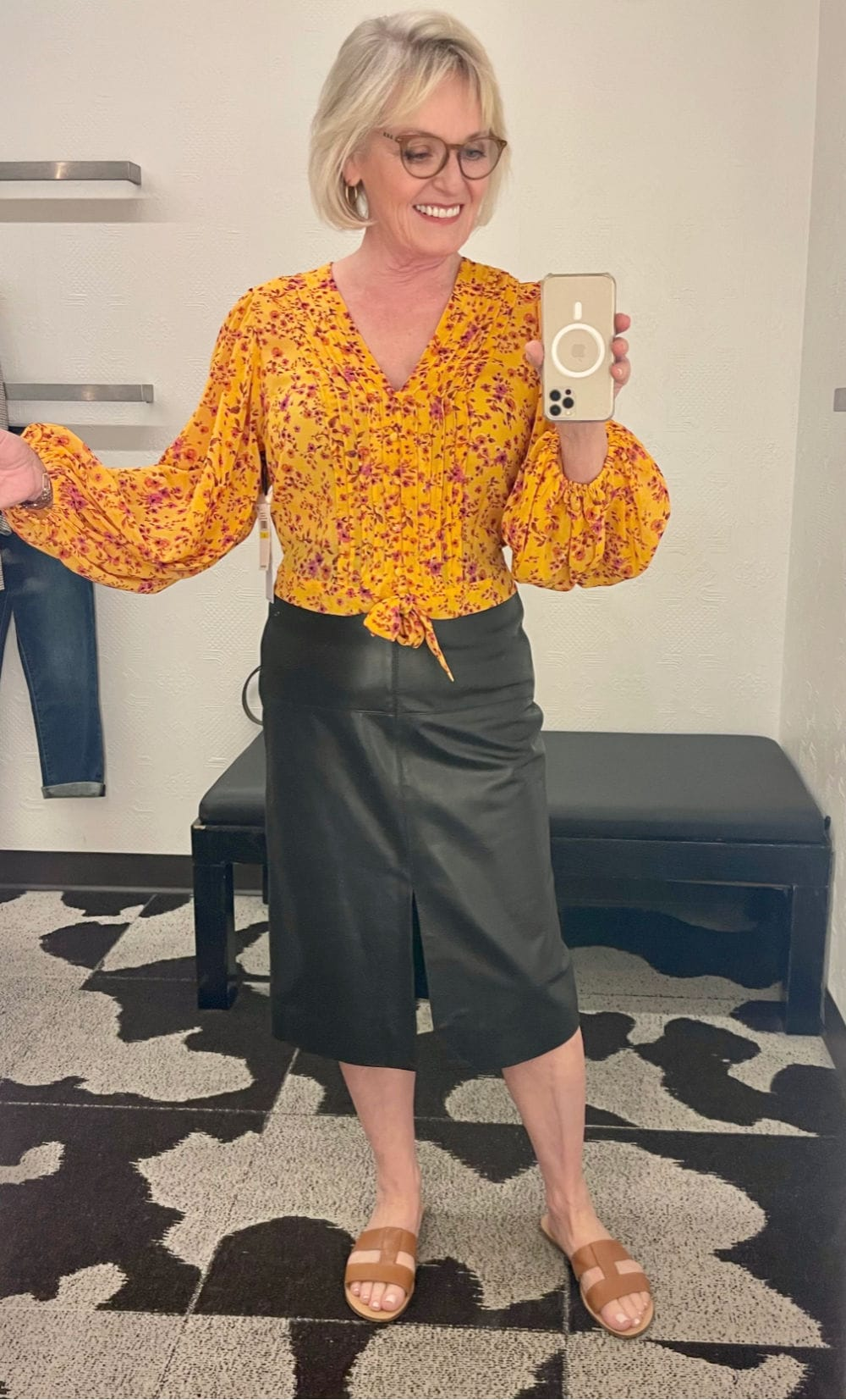 ORANGE TOP FAUX LEATHER SKIRT fall outfit