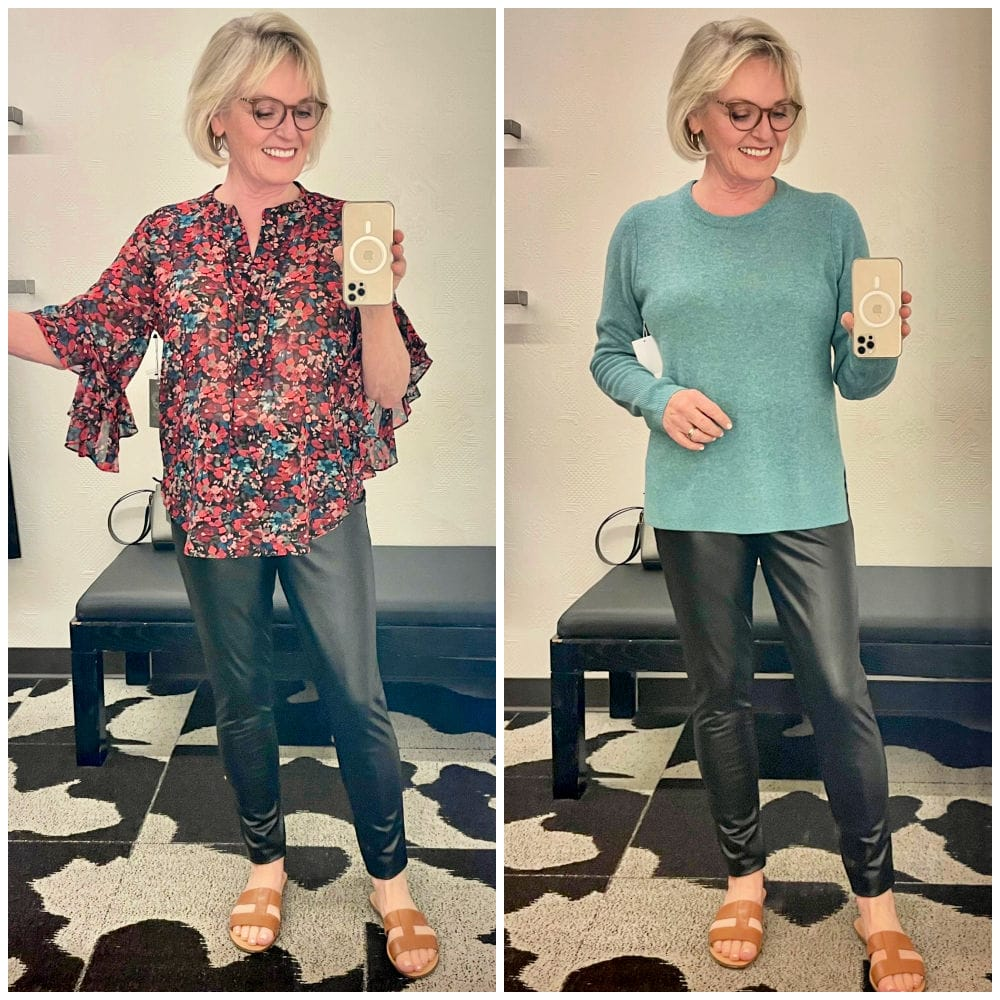 over 50 blogger showing two ways to wear pleather leggings