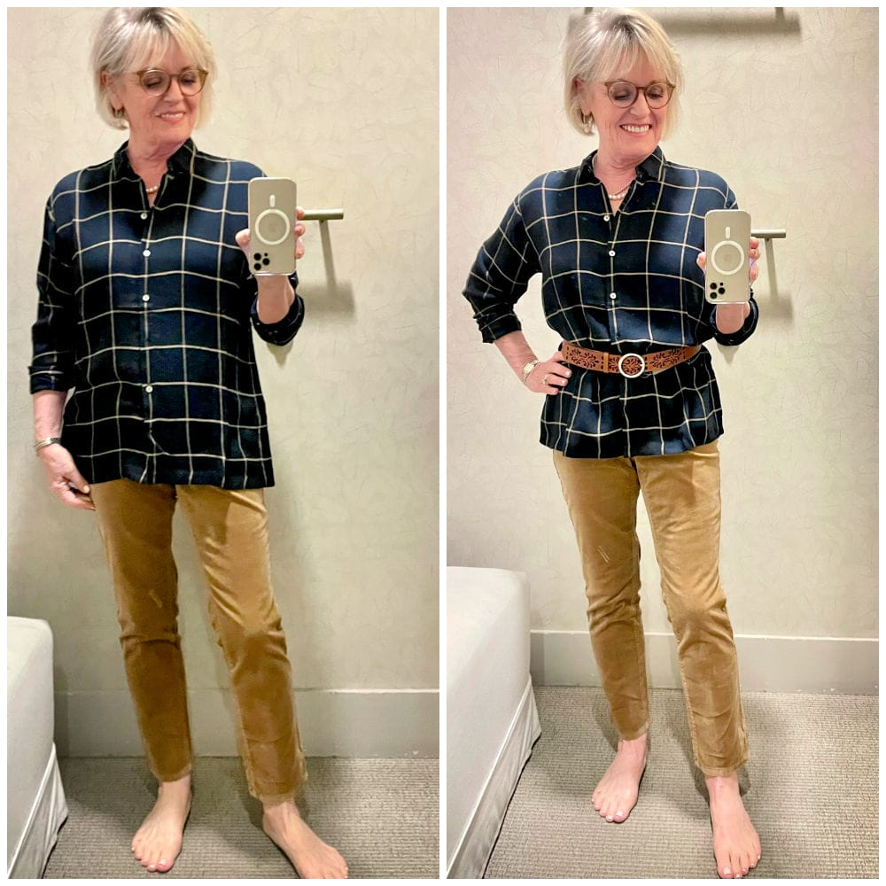 plaid shirt belted and unbelted