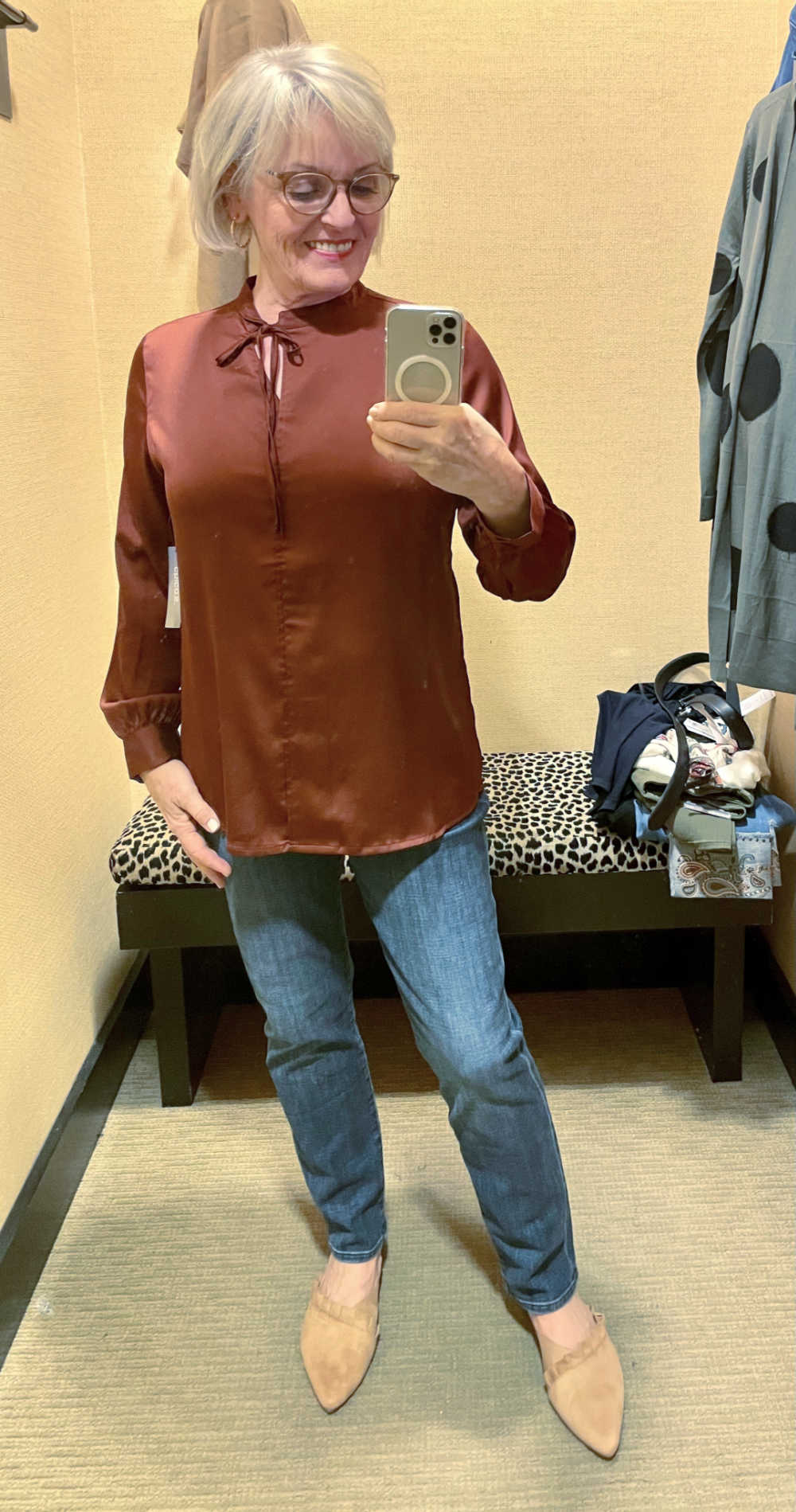 JENNIFER CONNOLLY TRYING ON CHICO'S COPPER SATIN SHIRT