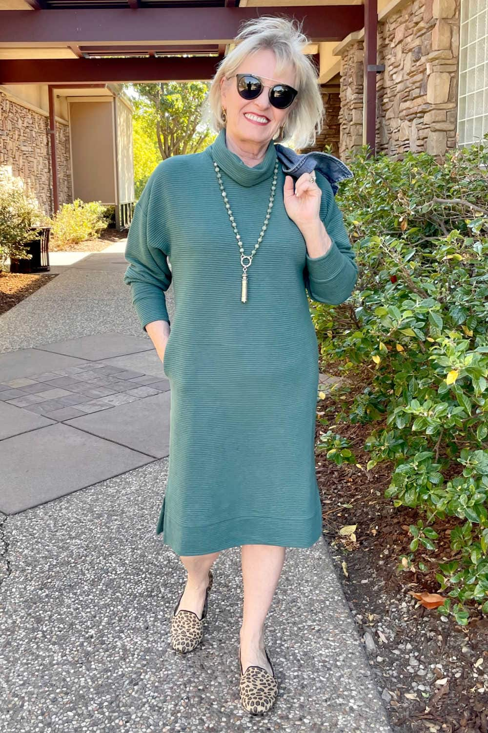 jennifer of a well styled life wearing target dress and rothy's flats