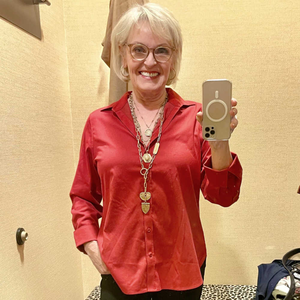 jennifer connolly wearing red chicos no iron blouse